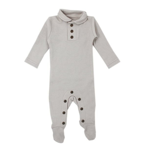L'ovedbaby | Organic Polo Overall in Pebble