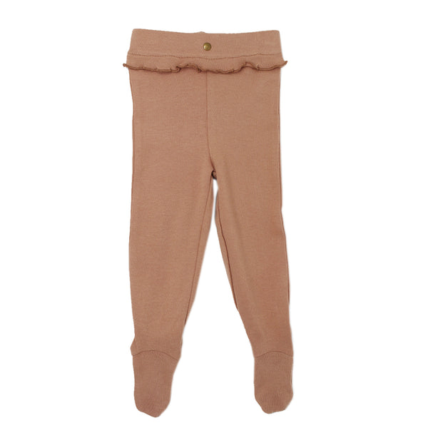 L'ovedbaby - Organic Ruffle Footed Legging in Nutmeg