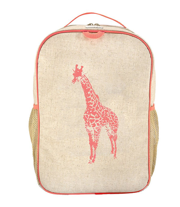So Young - Neon Orange Giraffe Grade School Backpack