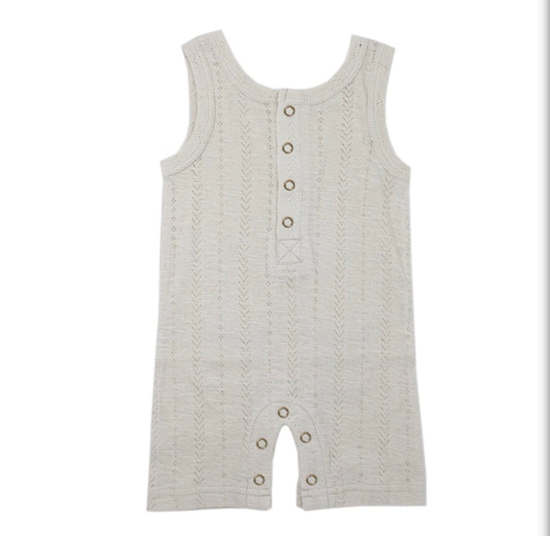 L'ovedbaby | Organic Pointelle Sleeveless Romper - Stone