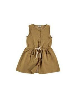Búho - Andrea Front Buttoned Girl Dress / Mustard