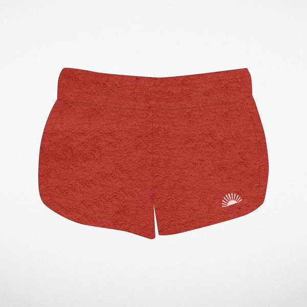 Tiny Whales - Sunshine Red Velour Dolphin Shorts