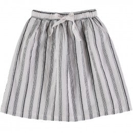 Búho - Milos Beach Stripes Midi Skirt / White