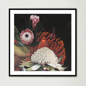 Dark Abstract Native Bouquet 2 (Square) Art Print