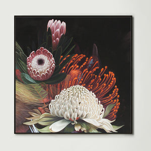 Dark Abstract Native Bouquet 2 (Square) Canvas Print