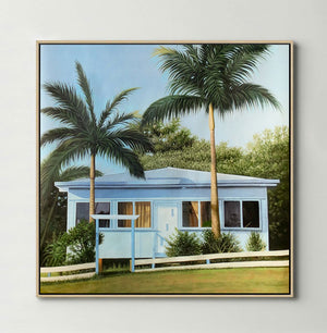 Blue Beach House (Square) Canvas Print