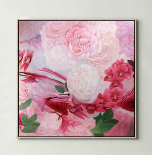 Pink and White Roses (Square) Canvas Print