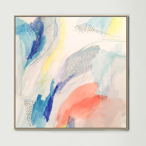 Blue Watercolour (Square) Canvas Print