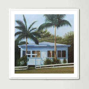 Blue Beach House (Square) Art Print