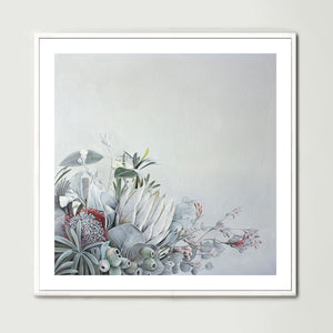 Green Grey Bouquet (Square) Art Print