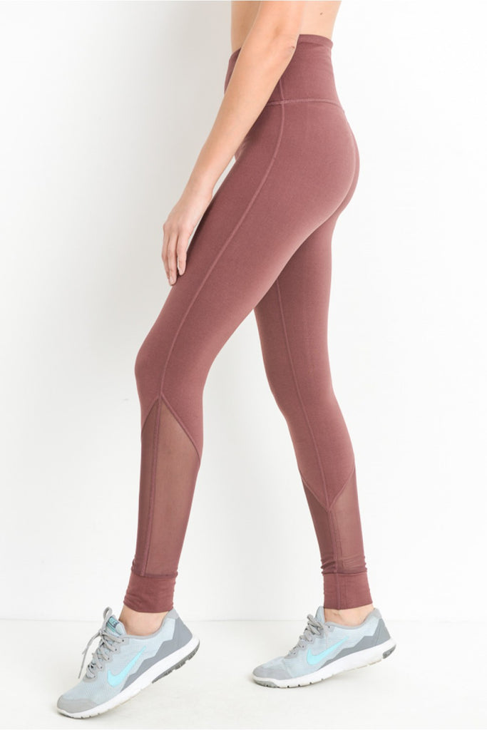 Slanted Mesh Full Legging With Pockets