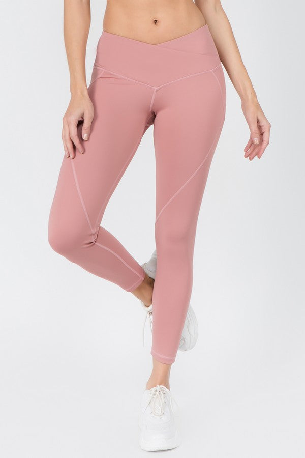 V Waist Leggings - Dusty Mauve