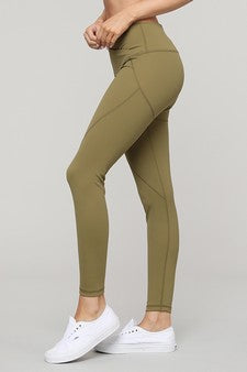 V Waist Leggings  - Olive Green
