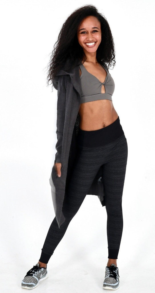 Charcoal Grey Hooded Cardigan - Women' s Active Apparel