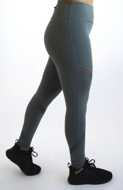 Criss Cross Mesh Leggings with Pocket - Women' s Active Apparel