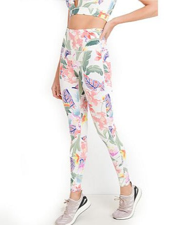 High Waisted Workout Leggings in Floral Lei Print