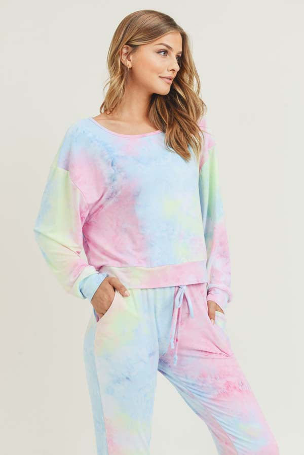 Cotton Candy Tie Dye Long Sleeve Top