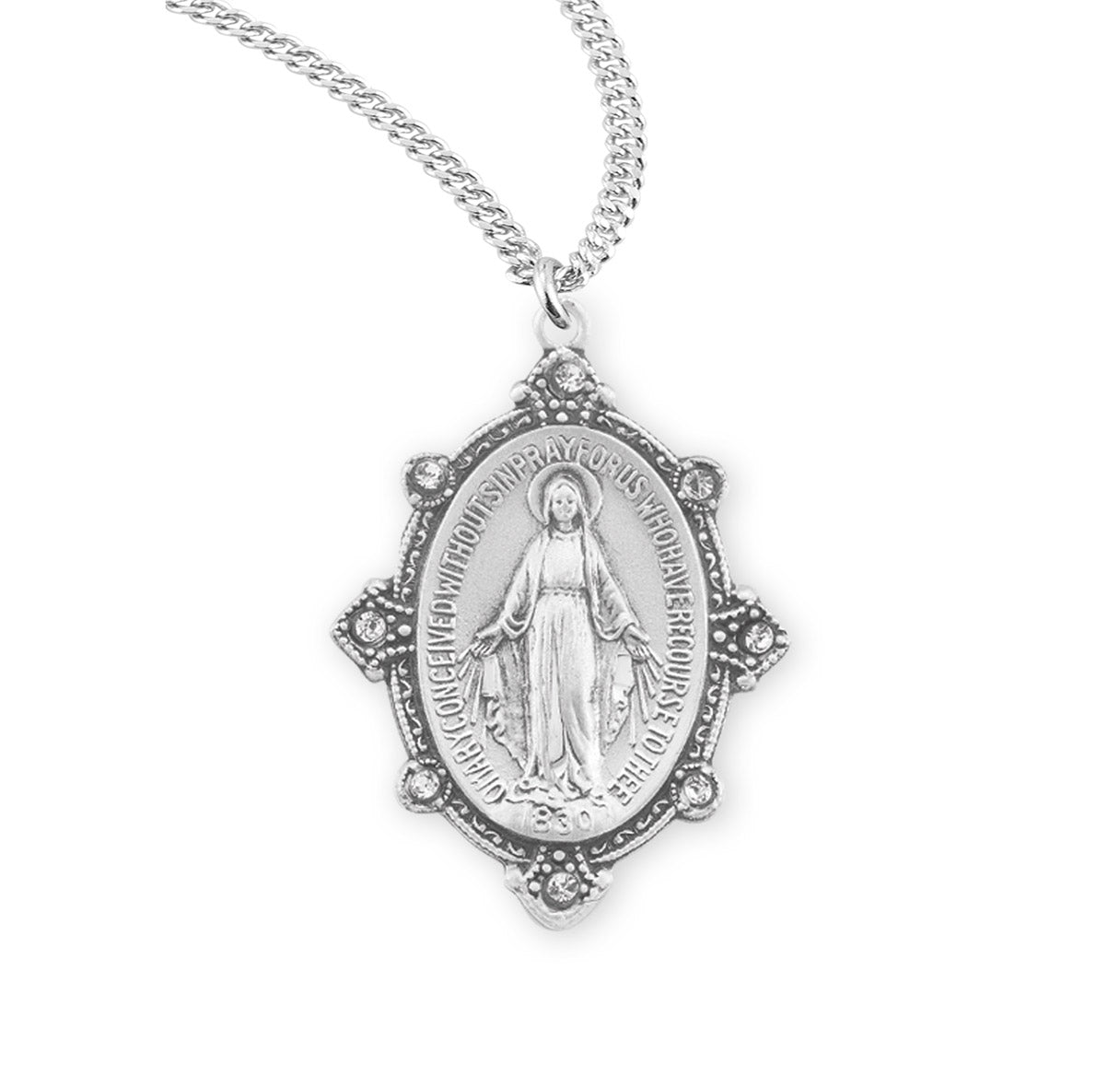 Swarovski Crystal Edged Miraculous Medal In Sterling Silver