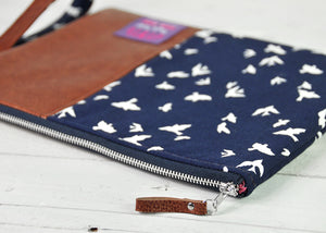 Recycled Brown Leather Tablet iPad Case Navy Blue Bird Zip View