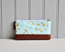 Load image into Gallery viewer, Recycled Brown Leather Pencil Case Blue & Gold Birds Front View.jpg