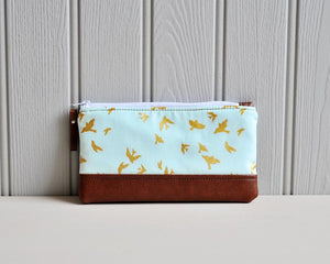 Recycled Brown Leather Pencil Case Blue & Gold Birds Front View.jpg