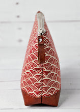 Load image into Gallery viewer, Small Recycled Leather Make Up Bag Red Japanese Wave End View.jpg
