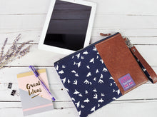 Load image into Gallery viewer, Recycled Brown Leather Tablet iPad Case Navy Blue Bird.jpg