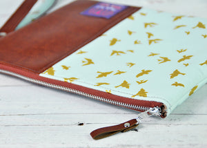 Recycled Brown Leather Tablet iPad Case Blue and Gold Bird Zip View