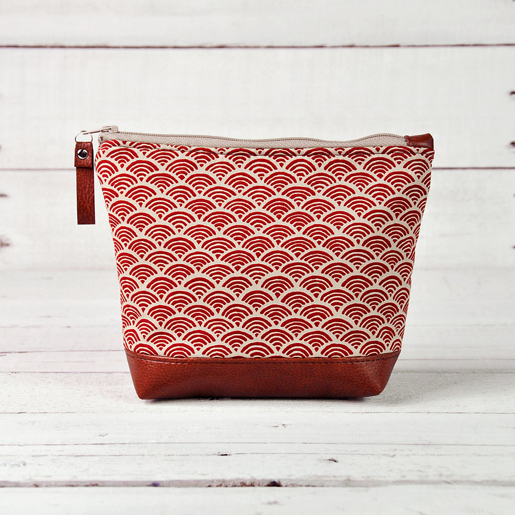 Small Recycled Leather Make Up Bag Red Japanese Wave Front View.jpg