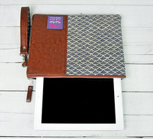 Load image into Gallery viewer, Recycled Brown Leather Tablet iPad Case Navy Blue Japanese Wave Product View