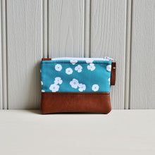 Load image into Gallery viewer, Recycled Brown Leather Coin Purse Teal flower coin pouch