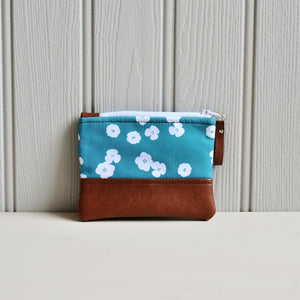 Recycled Brown Leather Coin Purse Teal flower coin pouch