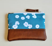 Load image into Gallery viewer, Recycled Brown Leather Coin Purse Teal flower handmade purse