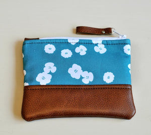Recycled Brown Leather Coin Purse Teal flower handmade purse