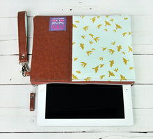 Load image into Gallery viewer, Recycled Brown Leather Tablet iPad Case Blue and Gold Bird Product View