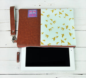 Recycled Brown Leather Tablet iPad Case Blue and Gold Bird Product View
