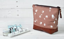 Load image into Gallery viewer, Small Recycled Leather Make Up Bag Taupe Bird Side View.jpg