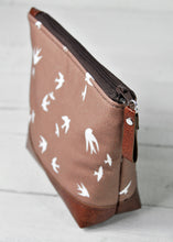 Load image into Gallery viewer, Small Recycled Leather Make Up Bag Taupe Bird Top View.jpg