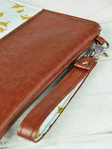Recycled Brown Leather Laptop Macbook Case Laptop sleeve Blue and Gold Bird Detail View