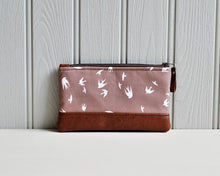 Load image into Gallery viewer, Recycled Brown Leather Pencil Case Taupe Bird Front View.jpg