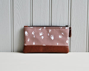 Recycled Brown Leather Pencil Case Taupe Bird Front View.jpg