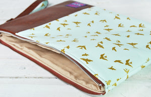 Recycled Brown Leather Laptop Macbook Case Blue and Gold Bird Interior View