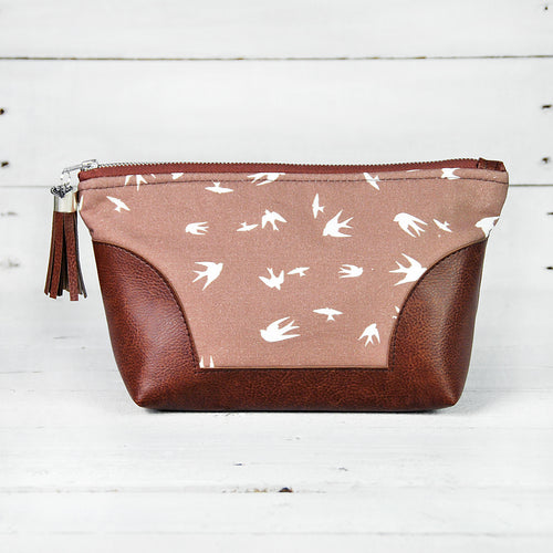 Recycled Brown Leather Make Up Bag Taupe Bird Front View.jpg