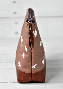Small Recycled Leather Make Up Bag Taupe Bird End View.jpg