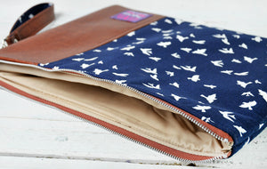Recycled Brown Leather Laptop Macbook Case Navy Blue Bird Interior View