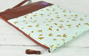 Recycled Brown Leather Laptop Macbook Case Blue and Gold Bird Zip View