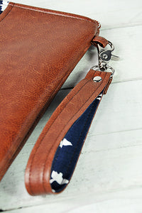 Recycled Brown Leather Laptop Macbook Case Navy Blue Bird Detail Shot