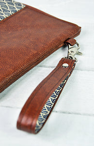 Recycled Brown Leather Tablet iPad Case Navy Blue Japanese Wave Wrist Strap View