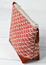 Load image into Gallery viewer, Small Recycled Leather Make Up Bag Red Japanese Wave Top View.jpg