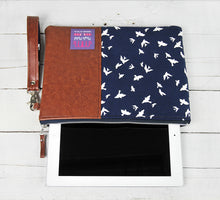 Load image into Gallery viewer, Recycled Brown Leather Tablet iPad Case Navy Blue Bird Product View.jpg